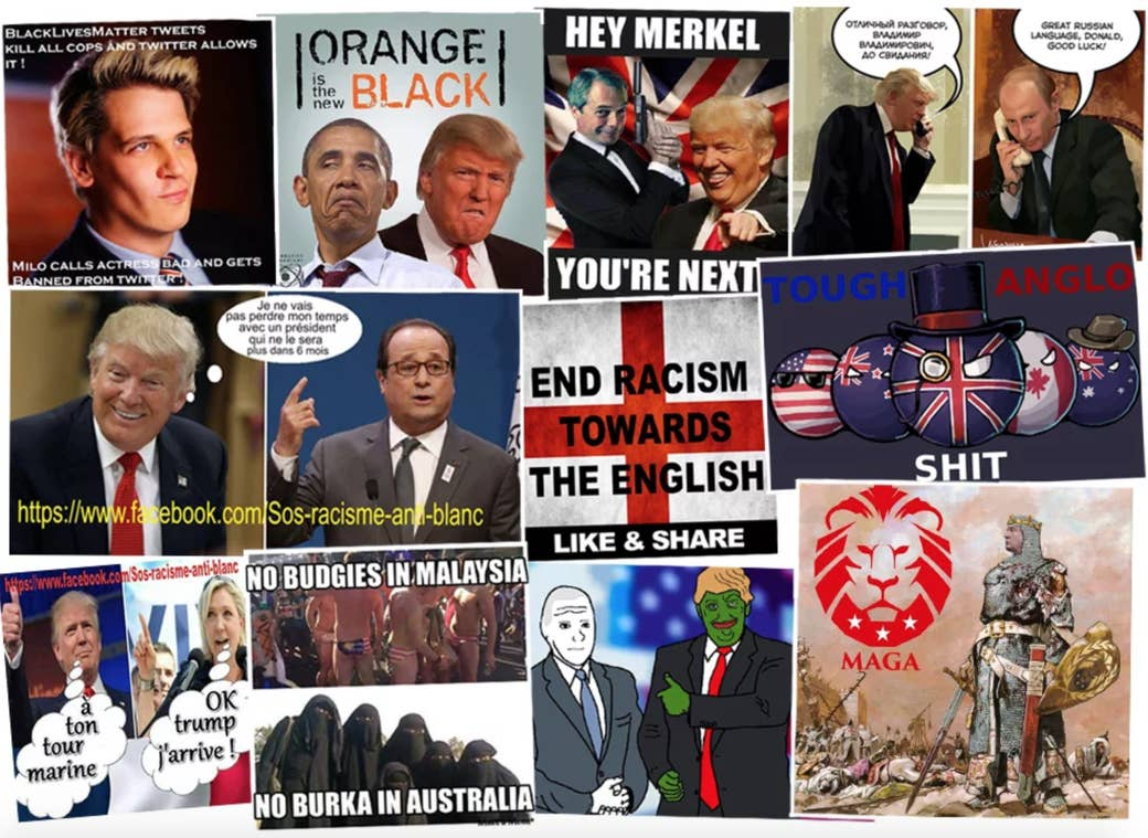A sample of memes from far-right communities like Britain First, Sos racisme anti-blanc, Meninist Posts, 4chan, /r/The_Donald, and United Patriots Front.