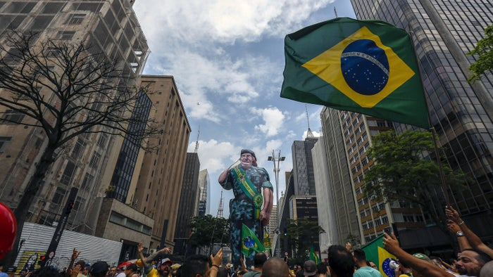 Supporters of Brazilian right-wing presidential candidate Jair Bolsonaro take part in a rally along Paulista Avenue, in São Paulo, Brazil, on Sept. 30.
