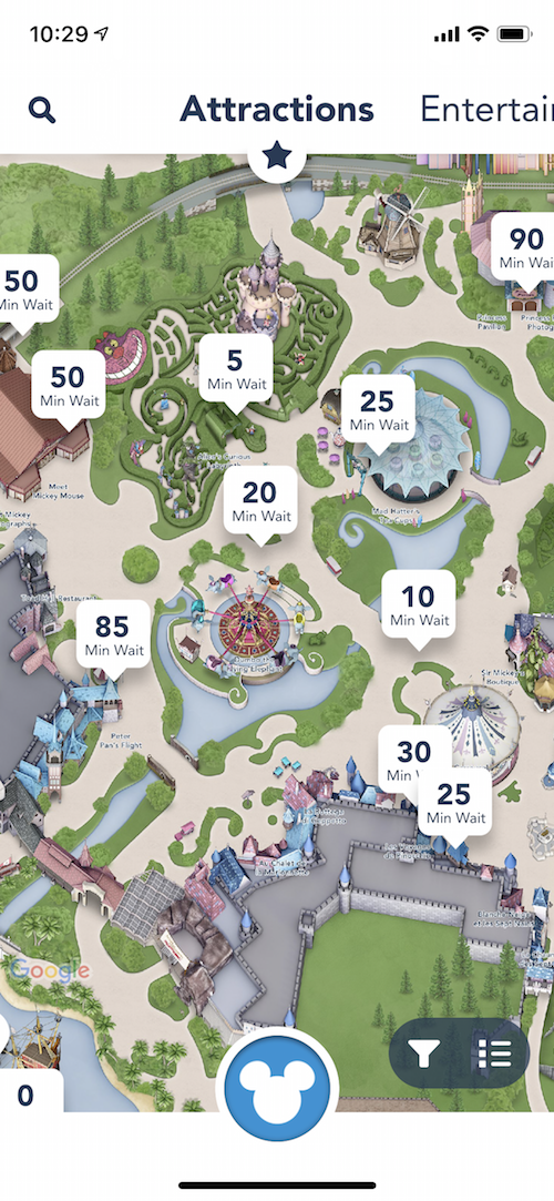 You can find out the wait time for attractions, see what's currently closed for refurbishment, find certain rides or restaurants on a map, etc.