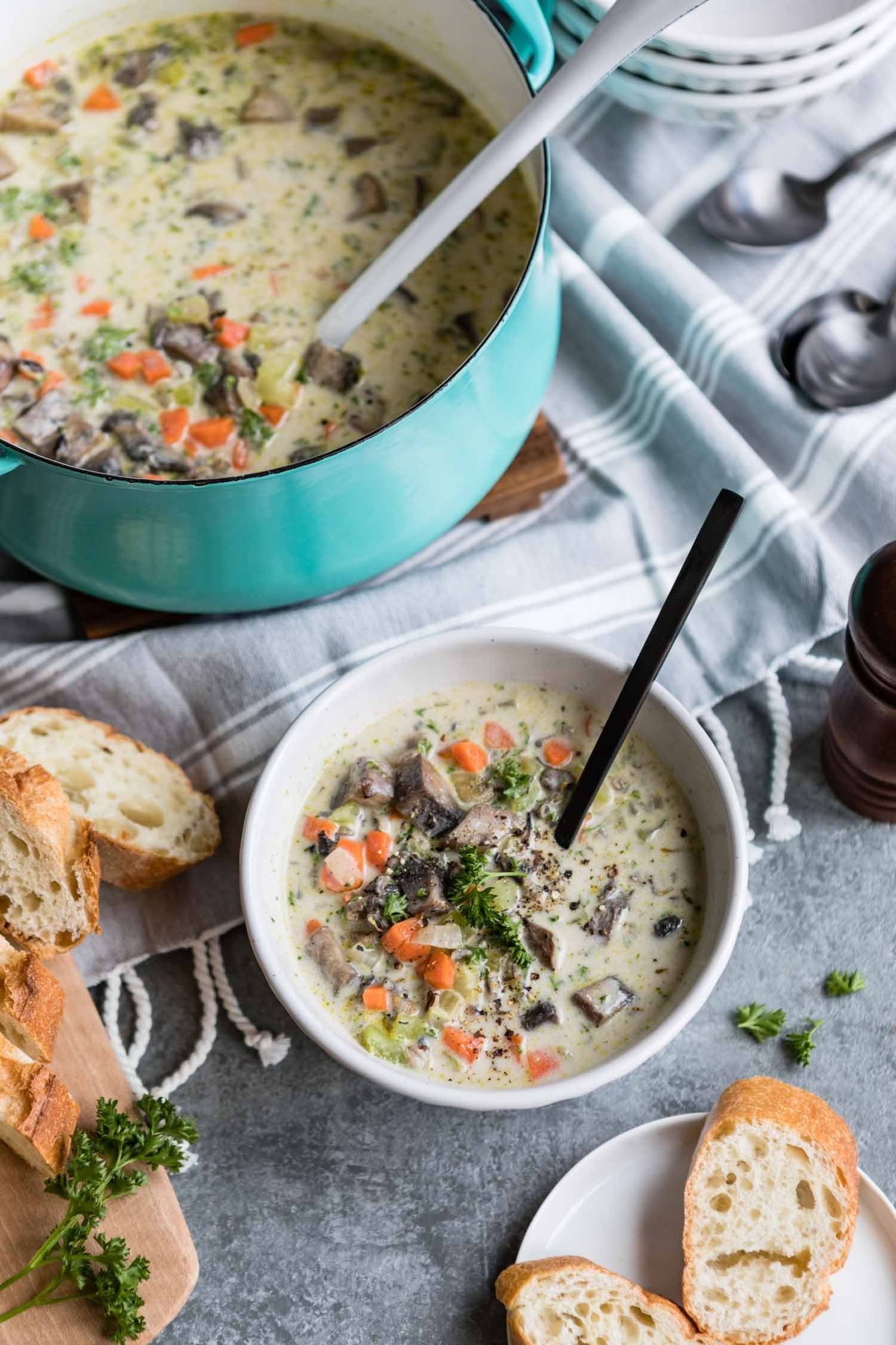 This gorgeous soup is hearty enough to be the star of your next fall potluck. Hot tip: Sprinkle some freshly grated smoked Gouda on top to really take it to the next level. Get the recipe here.