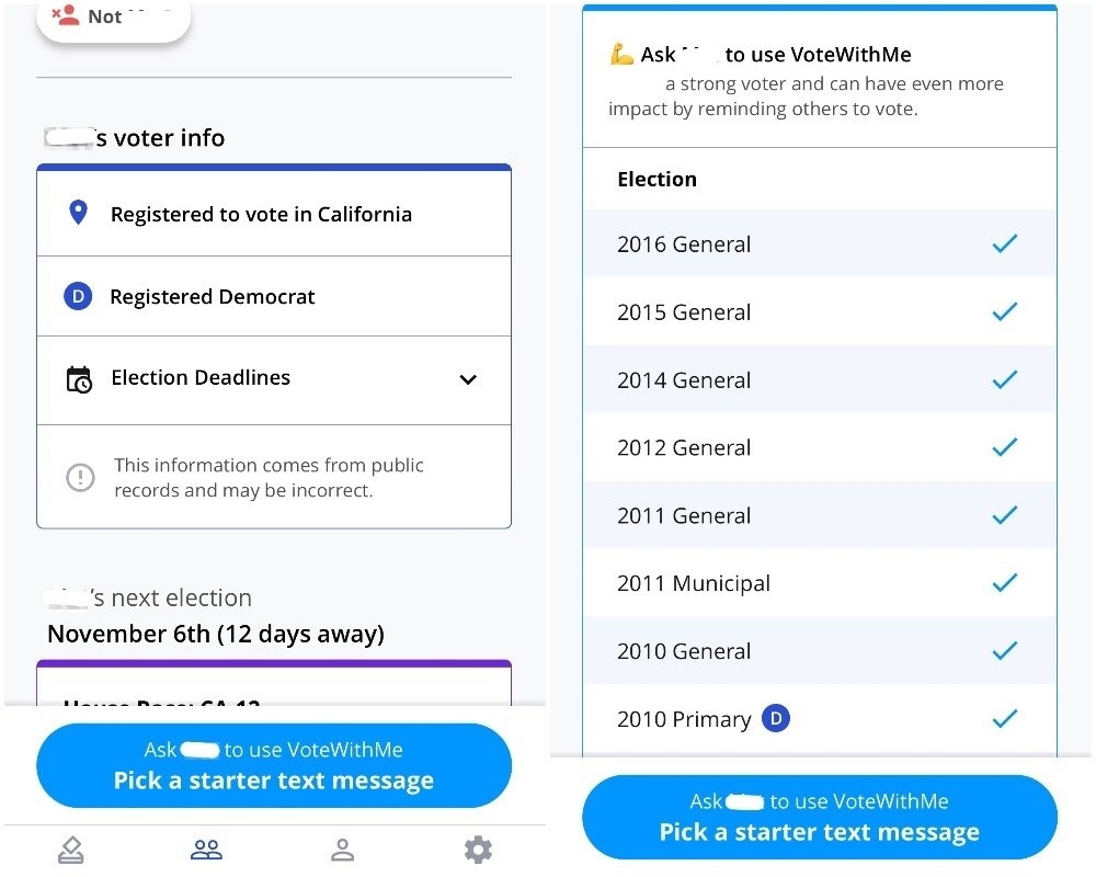 Vote With Me shows you how someone is registered, and which past elections they voted in.