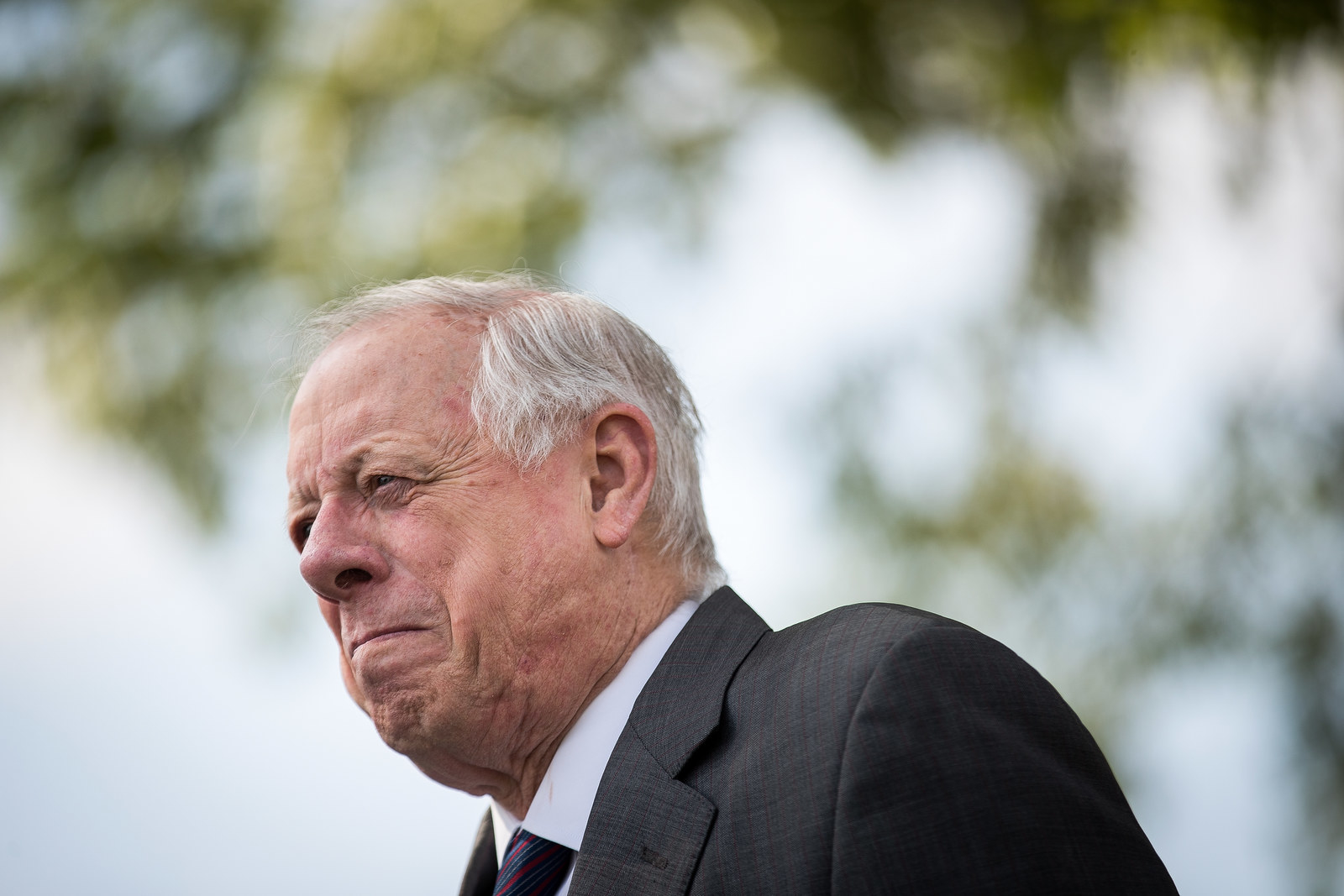 Bredesen at a groundbreaking event for a new Tyson Foods chicken processing plant, May 30, 2018, in Humboldt, Tennessee.