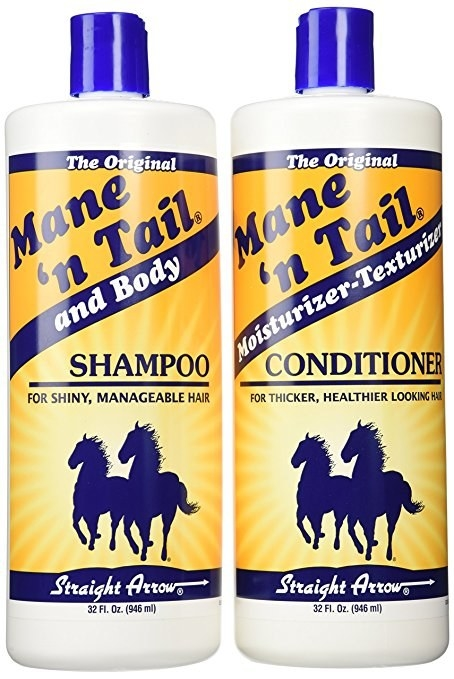 The bottles of shampoo and conditioner