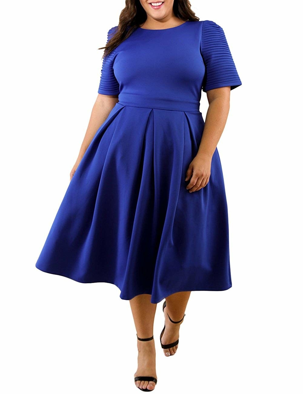 4a649a850192c A textured-sleeve '50s-style midi dress you'll want to take for a ~twirl~  as soon as it arrives.