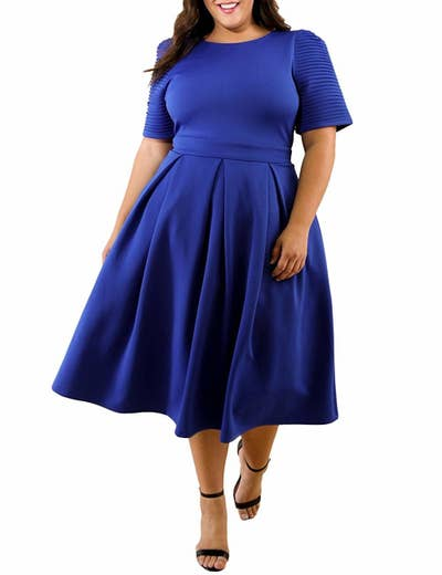 16158a3dadf82c A textured-sleeve '50s-style midi dress you'll want to take for a ~twirl~  as soon as it arrives.