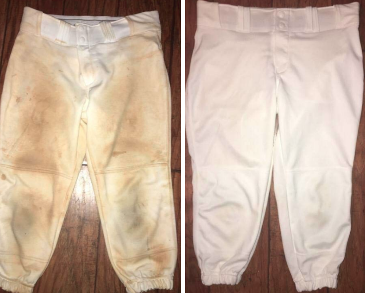before and after of reviewer's baseball pants that have dirt stains completely removed from bar