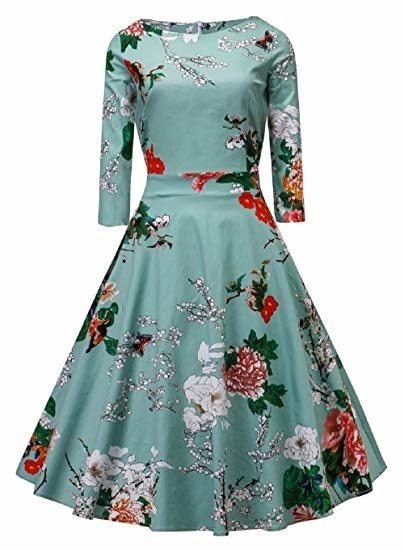 e4ee90a65426 A vintage-inspired floral dress to wear at a wedding or just for rocking a  retro look. Amazon ...