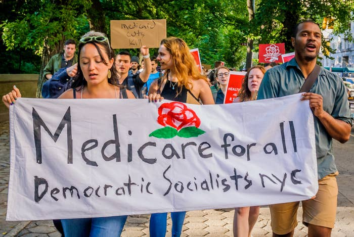 The Socialist Feminists of Democratic Socialists of America organized a protest outside of the New York County Republican Committee office in New York City on July 5, 2017.