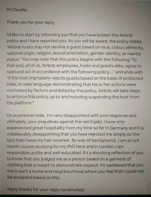 """Saleque cited Airbnb's nondiscrimination policy which says hosts may not """"Decline a guest based on race, colour, ethnicity, national origin, religion, sexual orientation, gender identity, or marital status."""""""