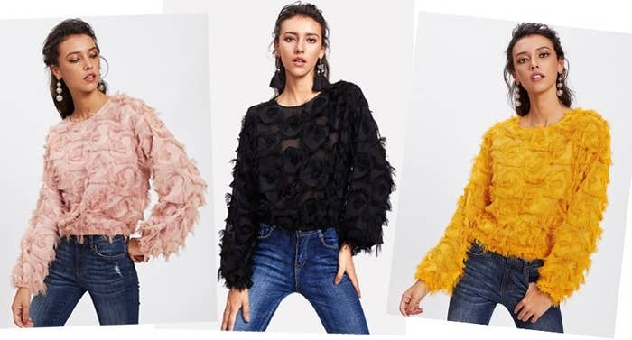 7631430389 A fringed pullover to add a whole new ~dimension~ to your jeans-and-a-top  look.