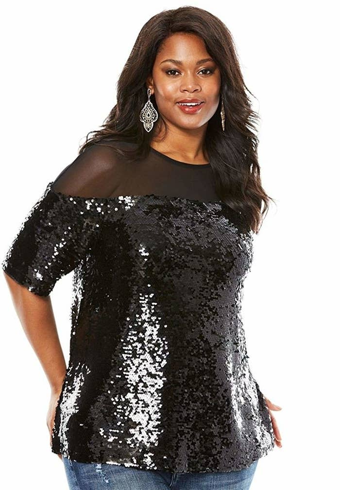 14779f0212 A sequin top with sheer panels that'll bring the party; be ready for  everyone there to ask where you got it.