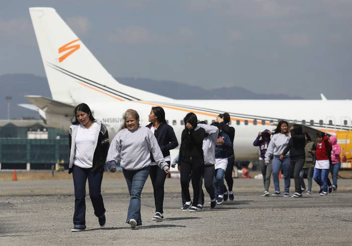Guatemalan immigrants deported from the United States arrive on a deportation flight on Feb. 9, 2017, in Guatemala City, Guatemala.
