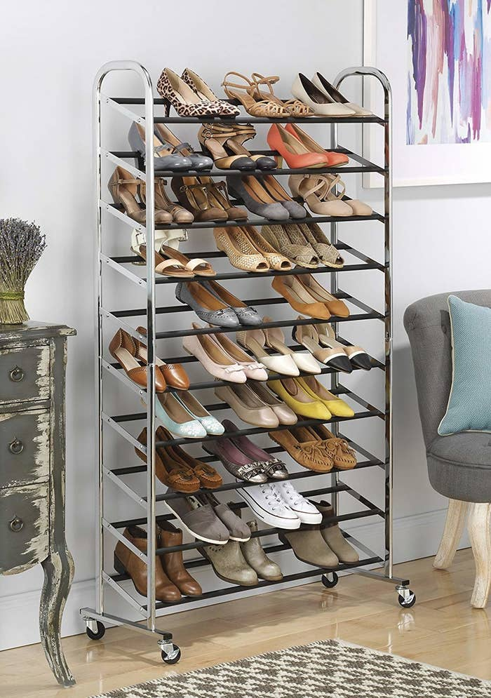 The chrome-finish rack with shoes on top