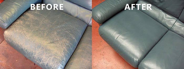 """Promising review: """"This product just saved me thousands of dollars! We inherited a leather sectional when we bought a second home in the mountains. The sofa was extremely comfortable, but having been in direct sunlight for many years, the couch was very faded. Its original color was similar to a bomber jacket, which I could see from the undersides and back of the couch. After researching it online, I found this product. —RungirlhbPrice: $29.95"""