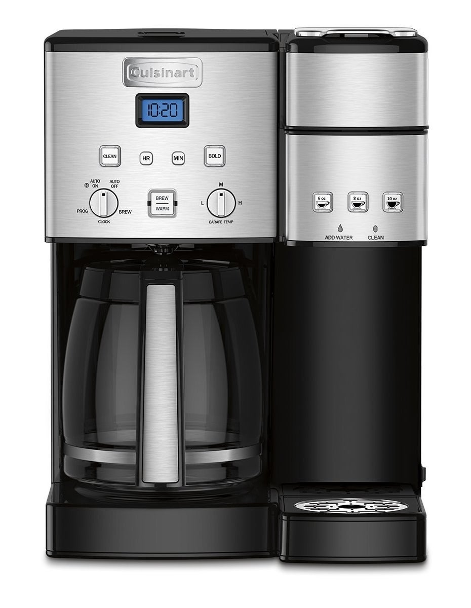 This coffee maker brews both 12-cup pots as well as single-serve cups.Price: $154.21 ($44.79 off the list price)