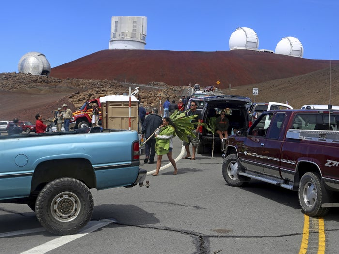 Protesters at Thirty Meter Telescope in October 2014.