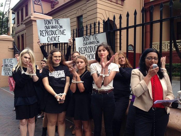 "Protesters in opposition of ""Zoe's Law"" bill in Sydney, Thursday, Nov. 21, 2013."