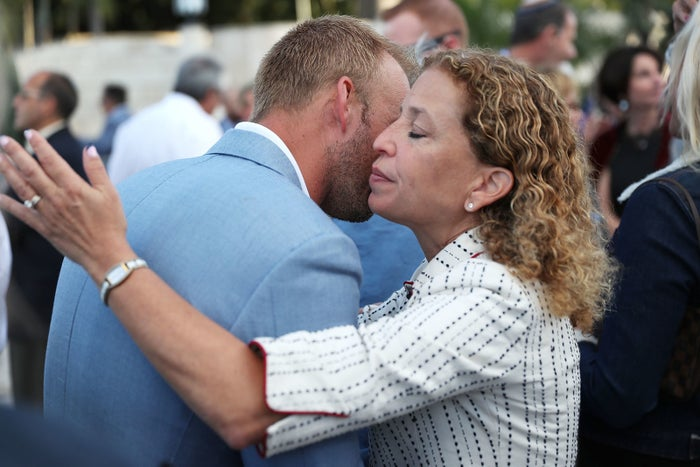 Wasserman Schultz attends a vigil to remember the victims of the Pittsburgh shooting, at the Holocaust Memorial Miami Beach on Oct. 30.