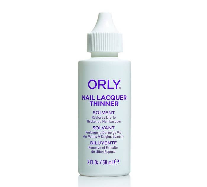 """Promising review: """"I use this one because it doesn't contain acetone, which some companies put in their thinner. Acetone destroys nail polish and will eventually ruin it. I've used this with a variety of different nail polish brands and finishes and it seems to do the job every time. I usually use a few drops at a time, shake the polish up and then repeat again if necessary. Depending on how bad the polish has gotten it may need several rounds to get it back to a normal consistency. If I add too much no big deal; I just leave the bottle open for a little while to breathe and thicken back up again. Will definitely purchase this again when I run out."""" —KellyGet it from Amazon for $7.94."""