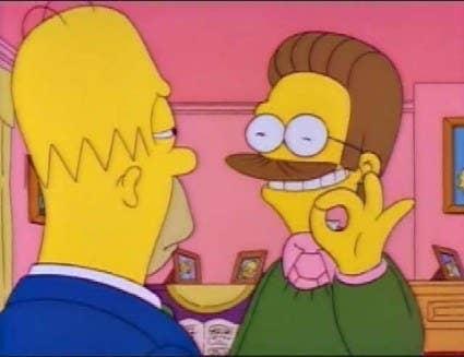 """""""No recuerdo en qué episodio fue, pero los primeros episodios tenían algunos fallos tontos de animación. Este era el mejor. El cuello de Ned no está en su camisa, no tiene nariz y el espacio circular que forma con los dedos está vacío"""". —blackzephyr"""