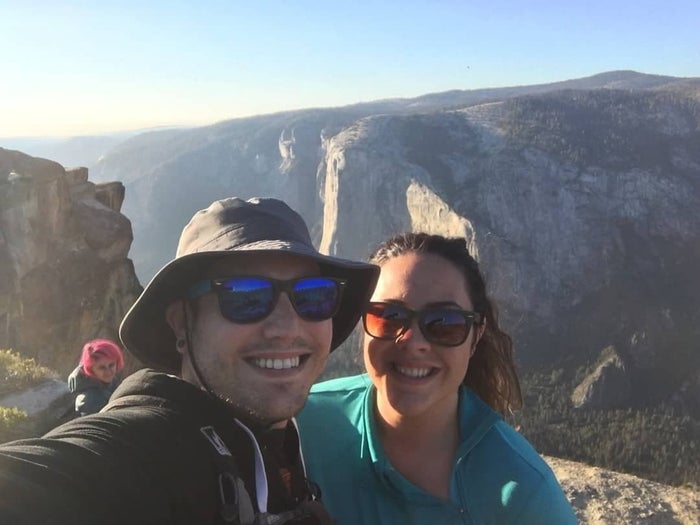 Minaxi Vishu Moorthy, in pink hair, appears in the background of this selfie taken at Taft Point.