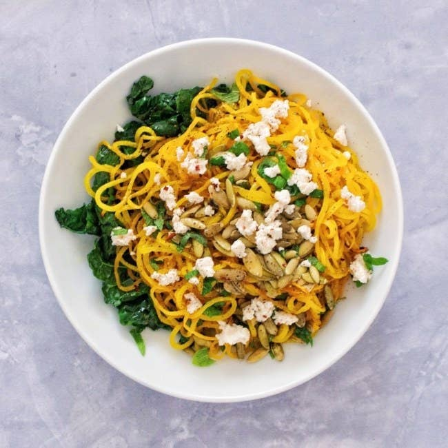 This is not your average zoodle recipe. With gorgeous golden beets, almond milk ricotta, and pumpkin seeds, this one looks just about as good as it sounds. Get the recipe here.