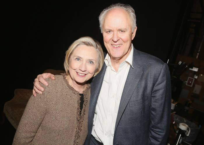 The real Hillary Clinton with Lithgow in February.