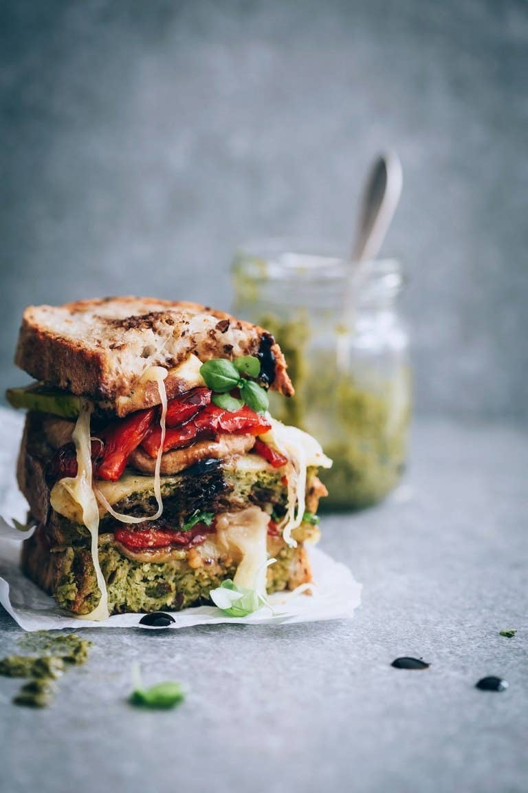 I'm sorry, don't you melt just looking at that sandwich?! Gooey cheese, crunchy bread, salty pesto, and a balsamic vinegar glaze make these veggies 100 times tastier. Get the recipe here.