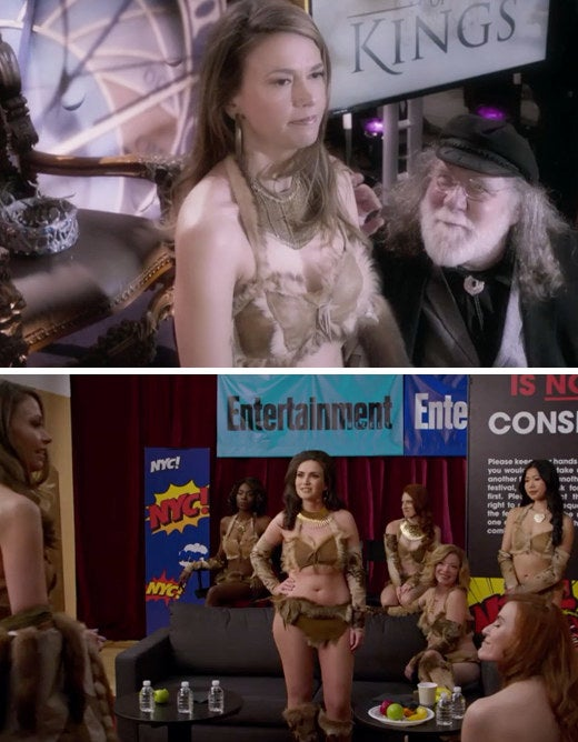 Liza (Sutton Foster) dressed as Princess Pam Pam deals with an inappropriate Edward L.L. Moore (Richard Masur); Other Princess Pam Pams share their own experiences with Moore on Younger.