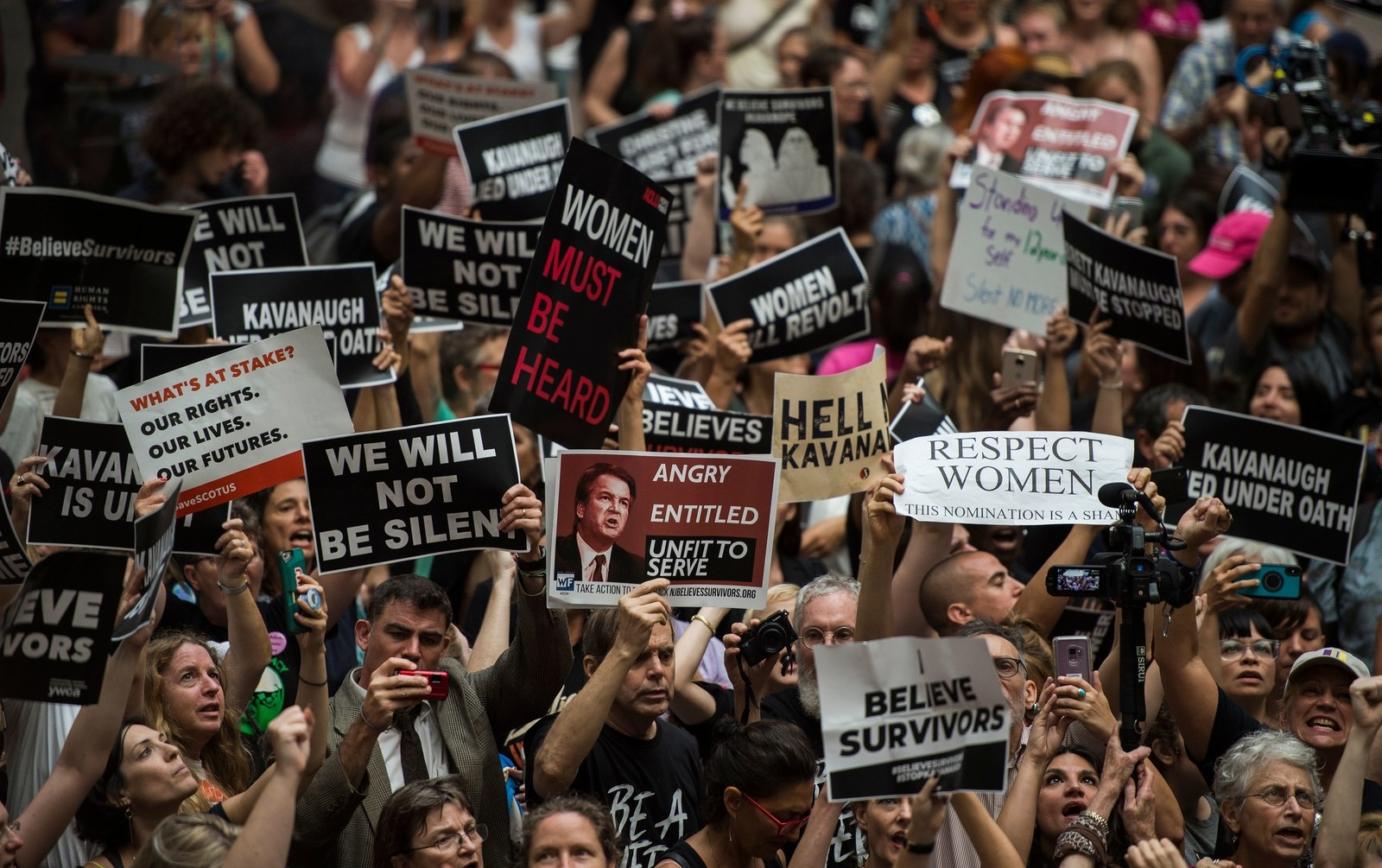 Protesters stormed the Hart Senate Building on Capitol Hill Thursday to protest Supreme Court nominee Brett Kavanaugh.