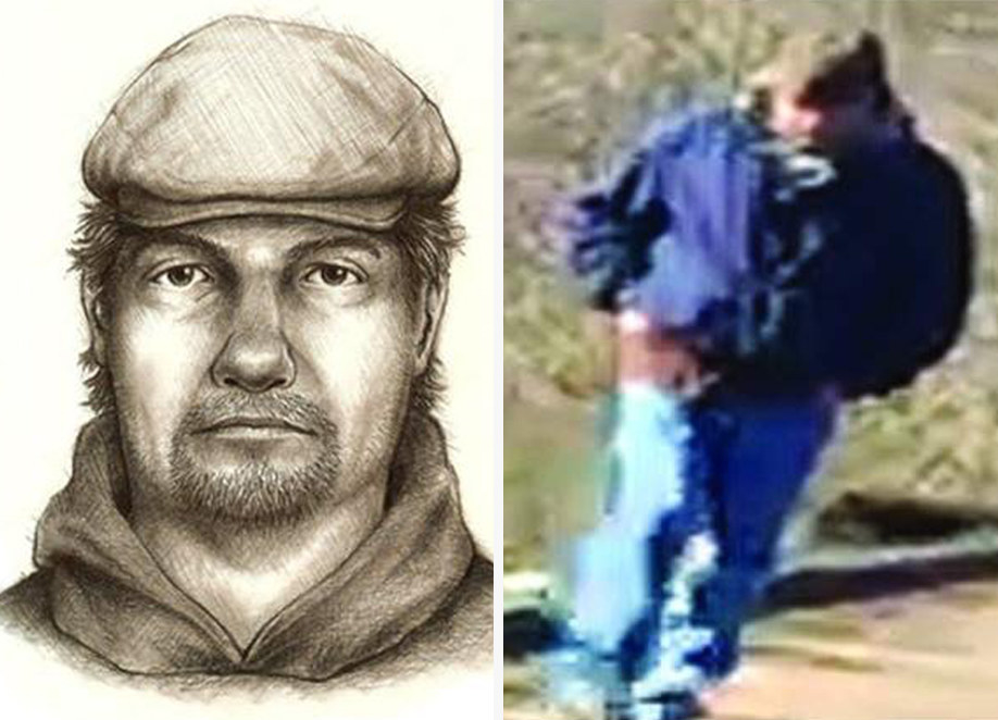 """On February 13, 2017, middle school friends Abigail Williams and Liberty German set off on a hiking trip in Delphi, Indiana. Their bodies were discovered near a wooded creek the next day. The above photo on the right was found on Liberty's cell phone and was taken shortly before her murder. Liberty was also able to make an audio recording of her killer, in which he can be heard saying """"down the hill""""."""