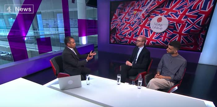 Whistleblowers Christopher Wylie (L) and Shahmir Sanni (R) on Channel 4 News.