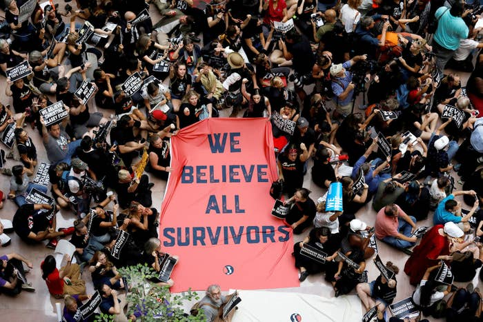 Activists rally inside the Senate Hart Office Building during a protest in opposition to Supreme Court nominee Brett Kavanaugh on Capitol Hill, Oct. 4.