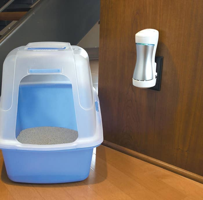 """Promising review: """"We have three cats and, while I try to scoop multiple times a day, sometimes once is all I can manage. On those days I can really smell it — and the laundry room is right by the front door. I was skeptical of this because it's so small, but I plugged it in with a fresh litter box and the difference was noticeable in a short time. It's been over a week and I still can't smell the cat box (the box has been changed, to be clear, but even when the litter was old I couldn't smell it). This is a great product for pet owners, especially if you have a small room where you keep the litter box. I will probably buy a couple more for other problematic rooms in the house (ehm, kids' bathroom, I'm looking at you)."""" —Amazon CustomerGet it from Amazon for $31.49."""