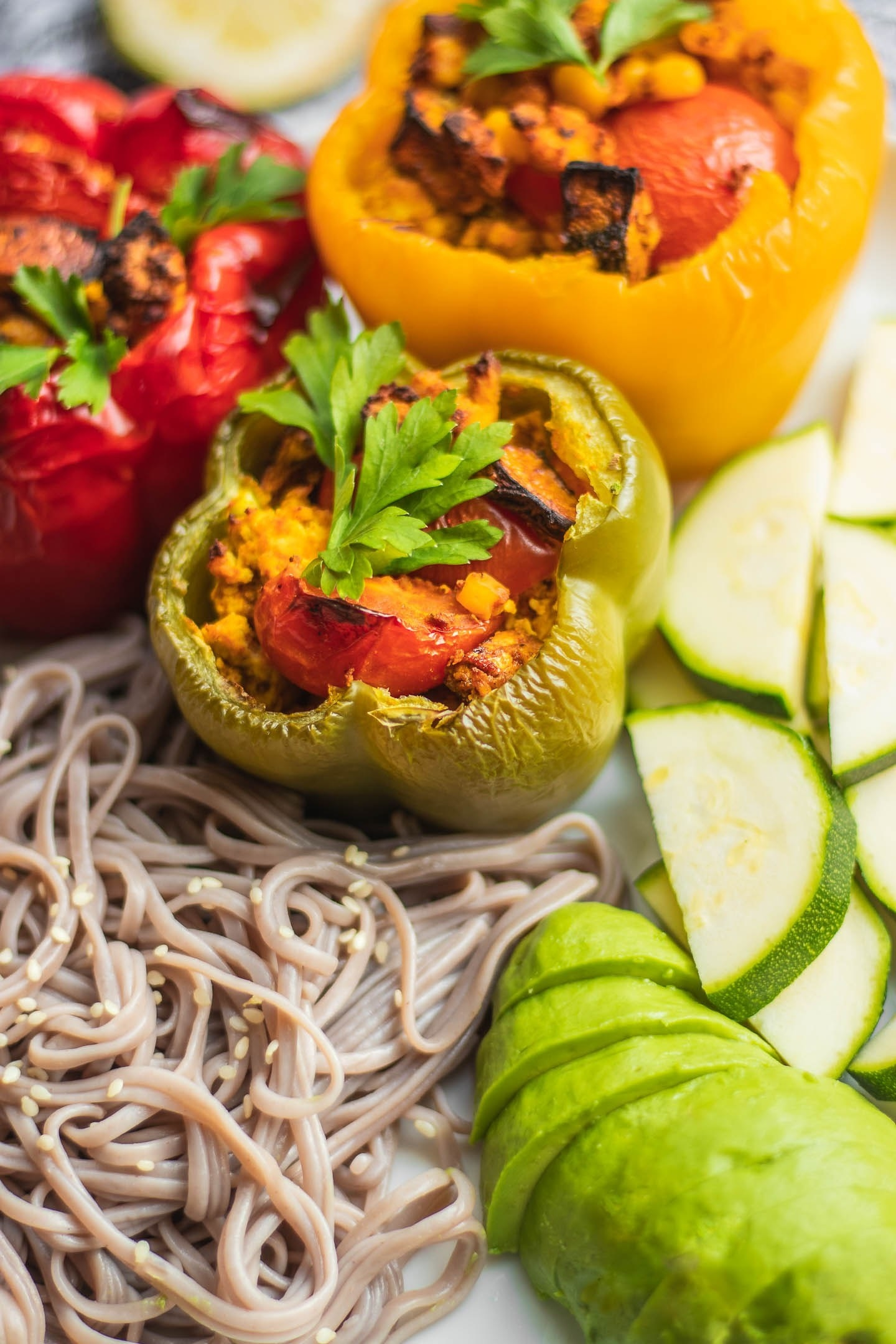 Stuffed peppers are a meal prep staple. From rice and beans to meat and cheese, there are basically no limits to the variations you can make with this classic. Mushroom and tofu, however, is a high-protein vegan option that couldn't be easier to put together. Get the recipe here.