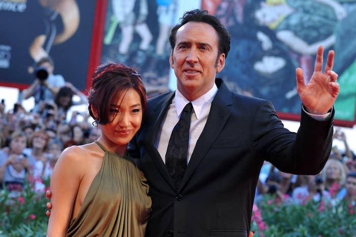 Nicolas Cage and his wife, Alice Kim Cage, at the Venice Film Festival in 2013.