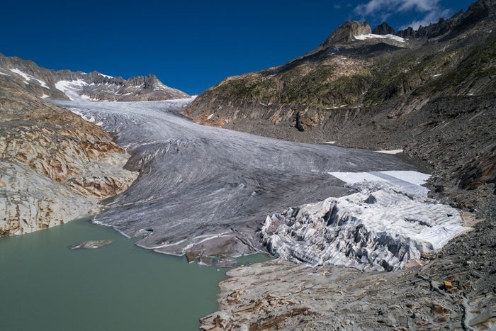 This aerial view shows the Rhone Glacier and its glacial lake, near Gletsch on Aug. 16, 2018.