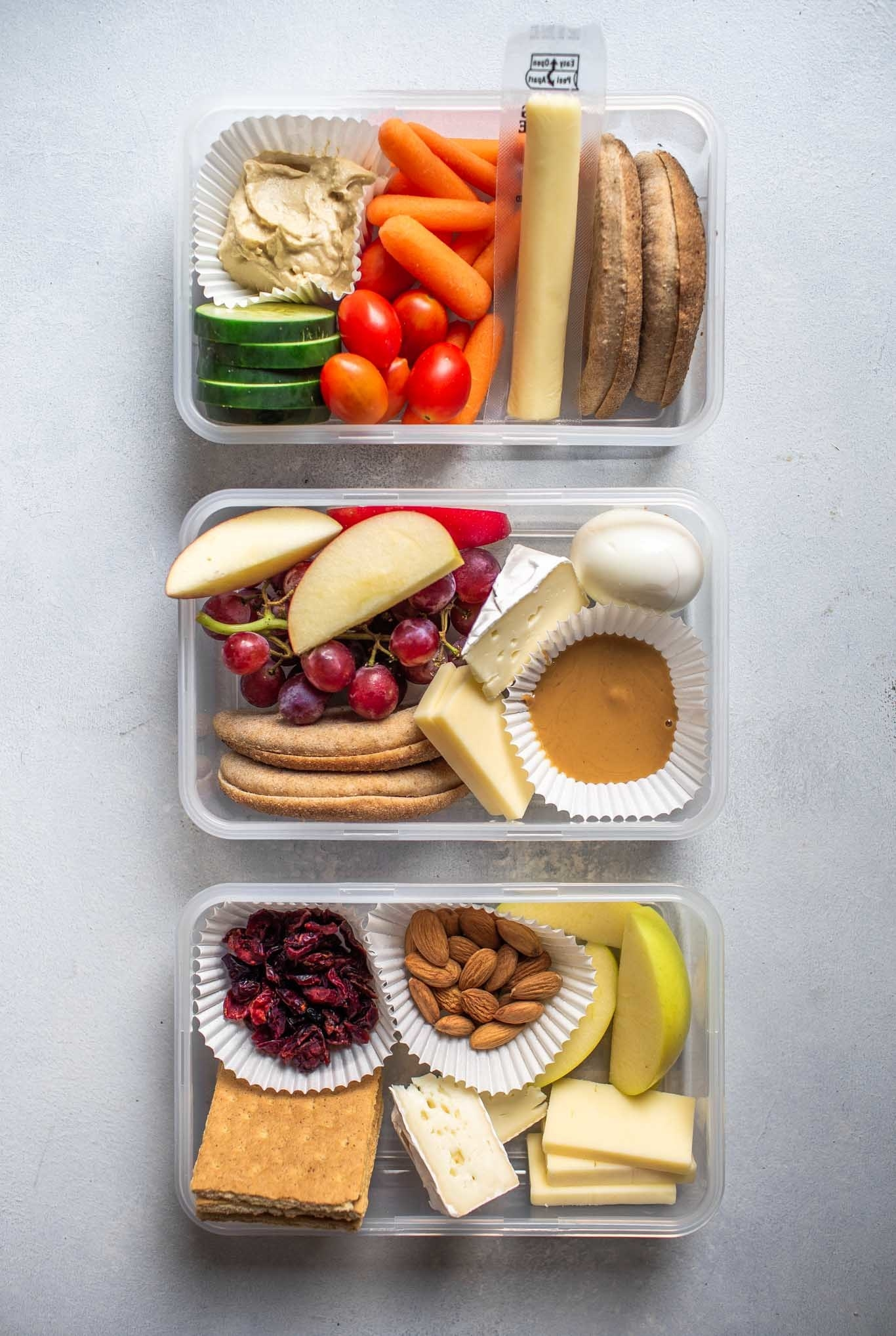 If you're more of a grazer (me), use some cupcake liners to separate your hummus, nut butter, cheese, fruit, and veggies. Get the recipes here.