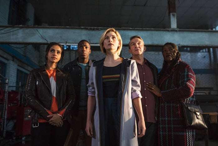 "Yasmin Khan (Mandip Gill), Ryan Sinclair (Tosin Cole), Thirteen (Jodie Whittaker), Graham O'Brien (Bradley Walsh), and Grace O'Brien (Sharon D. Clarke) in the Doctor Who episode ""The Woman Who Fell to Earth."""