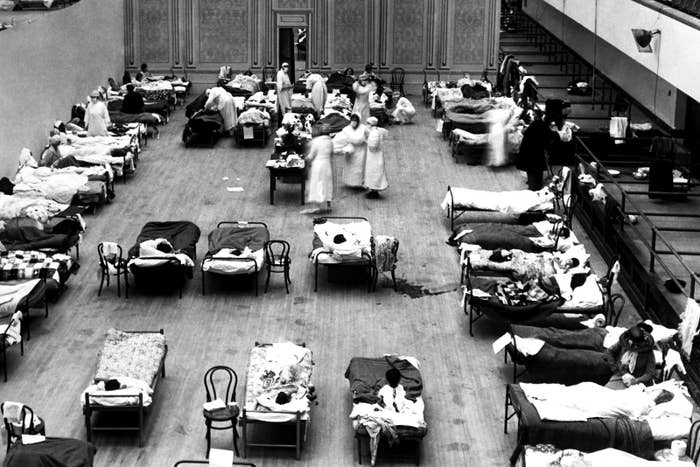 The Oakland Municipal Auditorium is used as a temporary hospital with volunteer nurses from the American Red Cross, 1918.