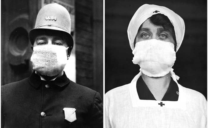 Left: A police officer wears a flu mask to protect himself from the outbreak of Spanish flu on Nov. 14, 1918. Right: A member of the Red Cross wears a flu mask, circa 1918.