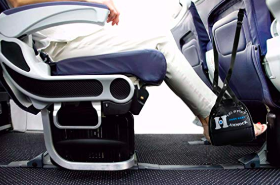 """Get ready to have a real ~leg up~ when it comes to traveling in comfort. Promising review: """"I often travel overseas on business and started suffering from numbness and swelling of my feet. After trying this nifty little foot hammock on a flight to Japan, I'll never fly without it again. Not only were my feet comfortable the majority of the flight, they didn't swell at all. I was very excited to find this great gadget and highly recommend it to anyone who travels."""" —CristianeGet it from Amazon for $10.95."""