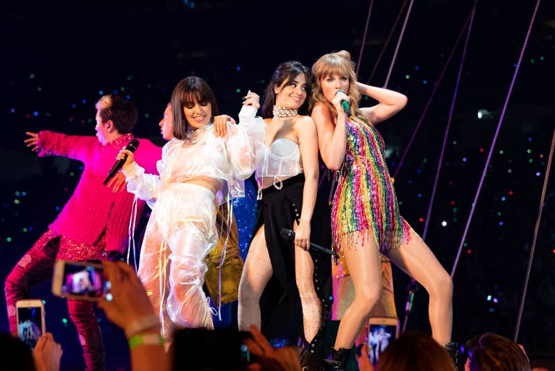 From left: Charli XCX, Camila Cabello, and Taylor Swift perform onstage during opening night of Taylor Swift's Reputation stadium tour on May 8 in Glendale, Arizona.