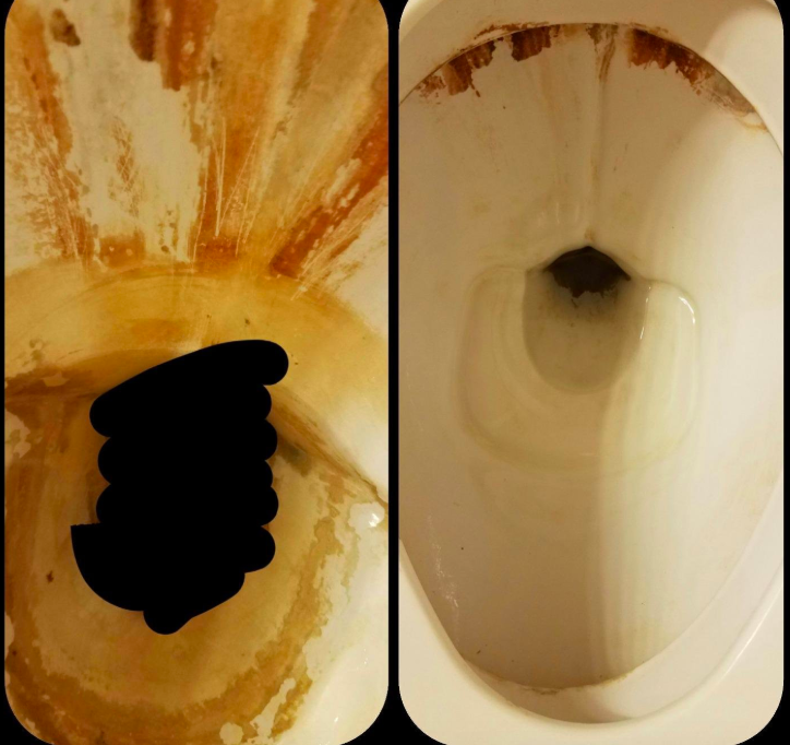 A customer review before and after photo showing the results of using the pumice on their toilet
