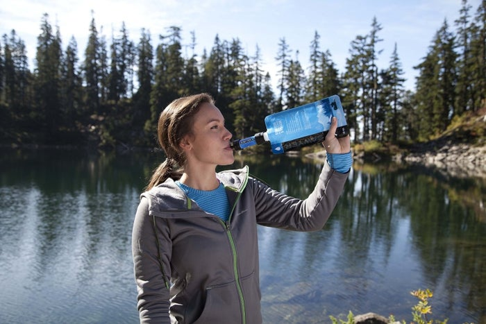 "The filtration system comes with a 16-ounce reusable pouch you can drink directly from, and all components of the system should be cleaned/sanitized after each use. It screws onto most disposable water bottles, and can be attached directly to hydration packs.Promising review: ""If you are looking for a small, light, compact, and (most importantly) easy way to filter your water, look no further. Sawyer makes this EXCELLENT unit that won't break the bank. I bought this filter a few months ago, to add to a survival/camp pack, and have since filtered about 40 liters of water through it. This filter cleans anything from questionable garden-hose water to murky lake water into perfectly clear and crisp drinking water. I was skeptical at first, but rest assured, this filter is a powerhouse and continues to go above and beyond."" —Joe LongGet it from Amazon for $19.97+ (available in six colors, and in a two or four-pack)."