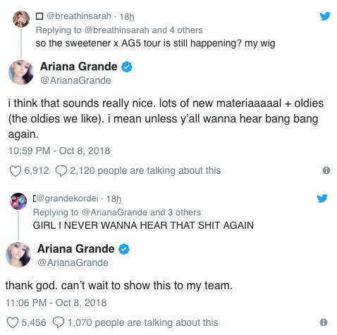 """Ariana apparently originally recorded """"Bang Bang"""" solo and hated it until Nicki and Jessie J sang on the track. More recently, she posted about her dislike of """"Bang Bang"""" on Twitter. When a fan said """"GIRL I NEVER WANNA HEAR THAT SHIT AGAIN,"""" Ariana replied """"thank god."""" For """"Why Try,"""" Ari, in an unGodly moment, told the audience at an album release listening party that """"Why Try"""" """"puts her to sleep."""