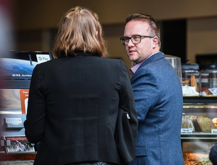 Journalist Jonathon Moran (right) is being sued by Geoffrey Rush.