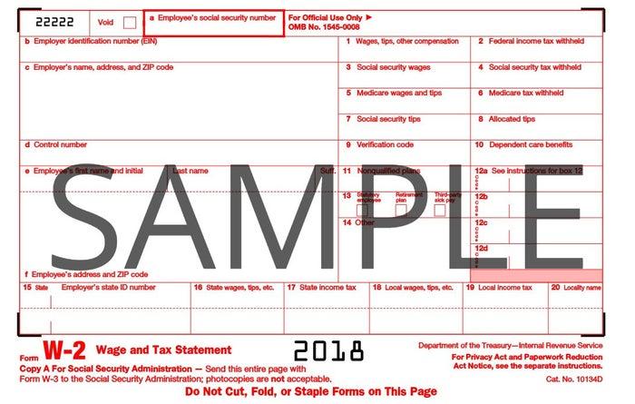 Form W-2 Sample
