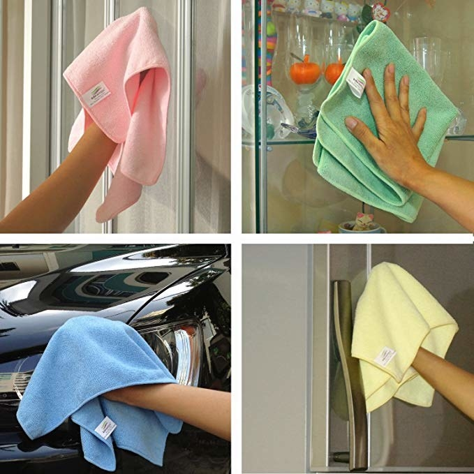 Microfiber cloths being used to clean multiple surfaces