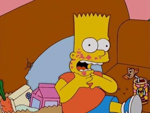 """""""Bart es alérgico a las gambas, pero en varios episodios sale comiendo gambas. Si pueden ser consistentes con el vegetarianismo de Lisa, esto no debería ser demasiado difícil de incluir"""".—bessg3"""